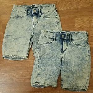 Acid wash biker shorts